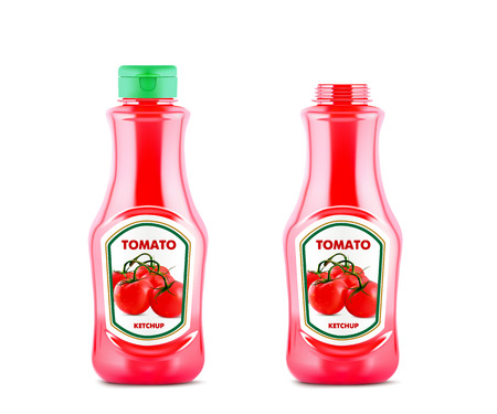 pareja comiendo: Ketchup bottle mock up with fresh tomatoes isolated on white background, realistic vector illustration.