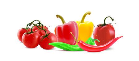 Diferentes verduras, chiles peper y íconos de tomate. Banner vegetal de vector.
