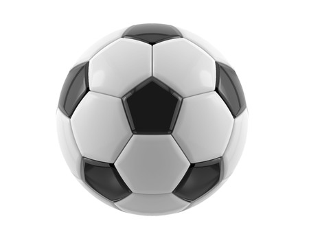 footy: Leather black and white football ball. Soccer ball. 3D illustration. Stock Photo