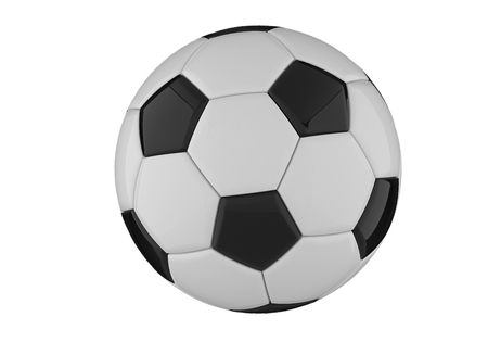 Leather black and white football ball. Soccer ball. 3D rendering.
