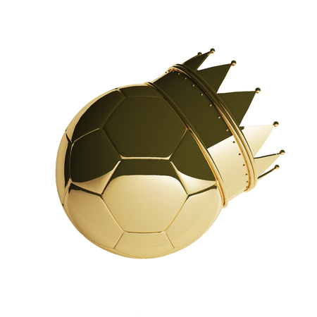 Soccer ball with golden royal crown is a symbol of competition and winners trophy on white. 3D rendering.