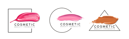 Makeup design template with place for text. Cosmetic Logo concept of liquid foundation, nail polish and lipstick smear strokes. 일러스트