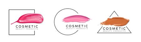 Make-up ontwerpsjabloon met plaats voor tekst. Cosmetic Logo concept van vloeibare foundation, nagellak en lippenstift uitstrijkjesstreken.