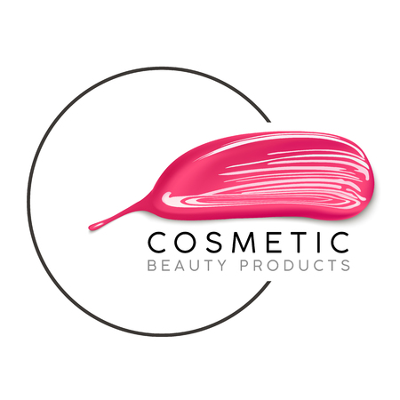Makeup design template with place for text. Cosmetic Logo concept of liquid nail polish and lipstick smear strokes.