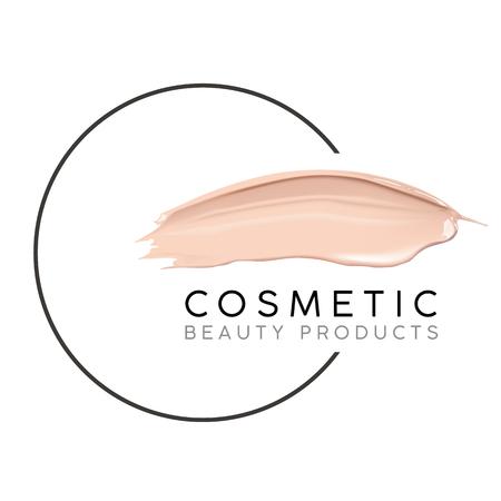 Plantilla de diseño de maquillaje con lugar para el texto. Logotipo cosmético concepto de base líquida y frotis de lápiz labial.