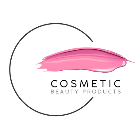 Makeup design template with place for text. Cosmetic Logo concept of liquid nail polish and lipstick smear strokes. Vectores