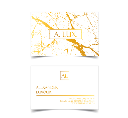 Elegant white luxury business cards with marble texture and gold detail vector template, banner or invitation with golden foil details. Branding and identity graphic design Illustration