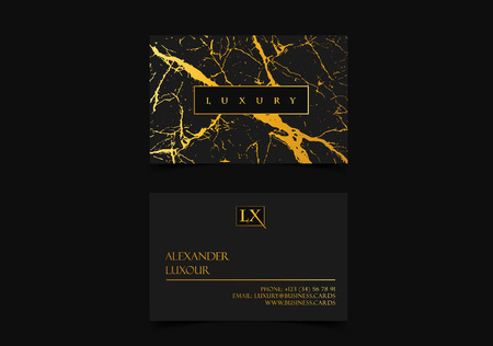 Elegant black luxury business cards with marble texture and gold detail vector template, banner or invitation with golden foil details. Branding stylish identity graphic design. Illustration