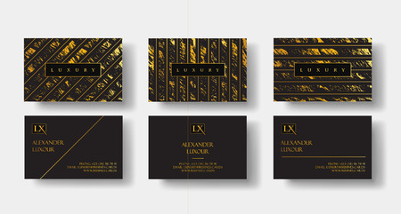 Elegant black luxury business cards Set with marble texture and gold detail vector template, banner or invitation with golden foil details. Branding and identity graphic design