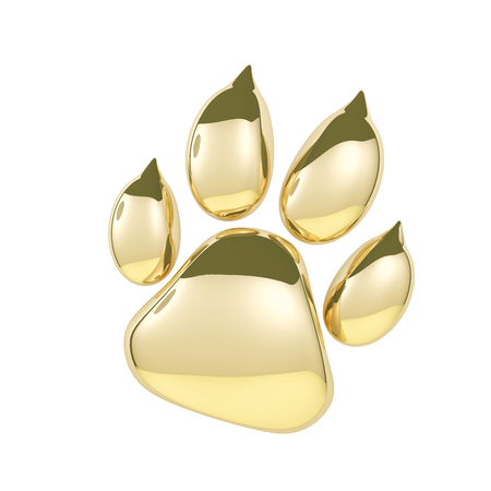 Golden paw print icon isolated on white background. Dog paw footprint 3d rendering. Stock Photo