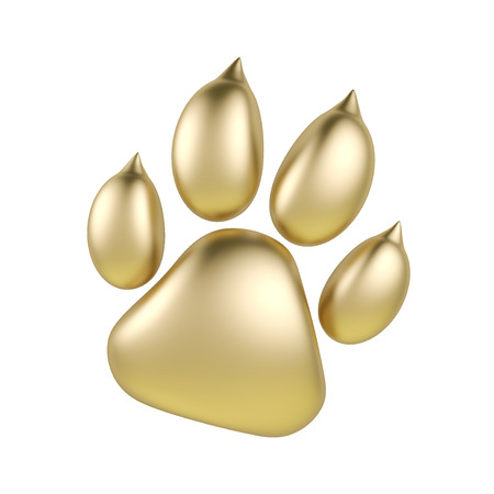 brushed: Golden paw print icon isolated on white background. Dog paw footprint 3d rendering