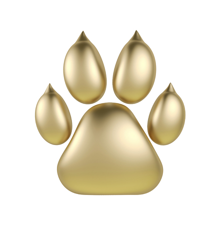 brushed: Golden paw print logotype or icon isolated on white background. Dog paw footprint logo 3d rendering. Year of Dog