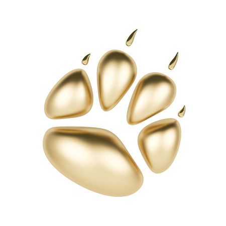 hounds: Golden paw print icon isolated on white background. Dog paw footprint 3d rendering. Year of Dog