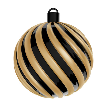 Christmas Ball in Black and gold color. Twisted Christmas Ball on white background. Vector.