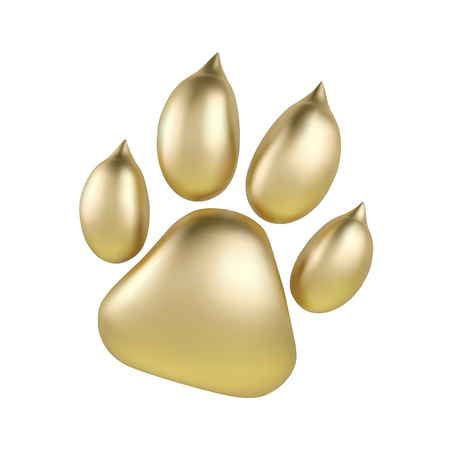 Vector Golden paw print of animal logotype or icon isolated on white background. Dog paw footprint logo. Year of Dog Illustration