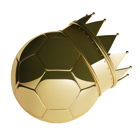 Golden Football or Soccer Ball With Crown. Photo-realistic Vector Illustration of 3D ball