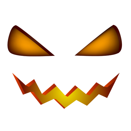 Halloween scary illuminated face ion white background vector illustration. Pumpkin eyes and smile Illustration