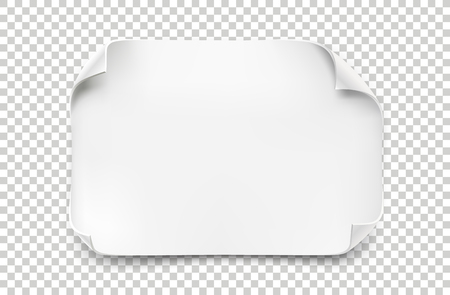 Feuille de papier blanc réaliste avec des coins incurvées et l & # 39 ; ombre douce sur fond transparent . illustration vectorielle papier de papier. pour le texte Banque d'images - 88230932