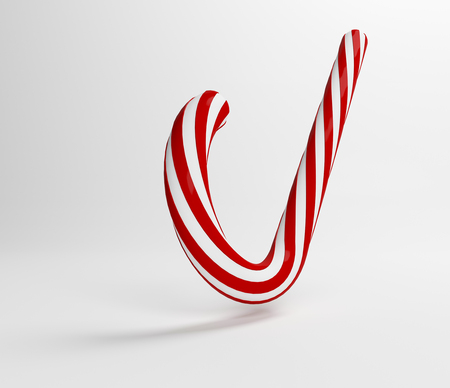 illustration traditional white and red lolipop. Christmas red candy. 3D Rendering. Stock Photo