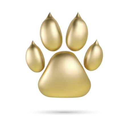 brushed: Vector Golden paw print of animal logotype or icon isolated on white background. Dog paw footprint logo. 2018 Year of Dog Illustration