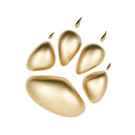 Vector Golden 3D paw print of animal logotype or icon isolated on white background. Dog paw footprint logo. 2018 Year of Dog Illustration