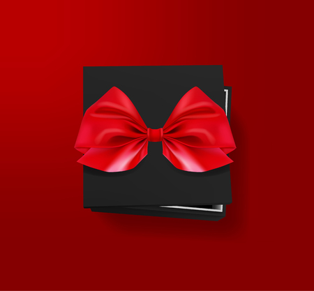 Opened black gift box with red bow on red background. Top view. Template for your presentation design, banner, brochure or poster. Vector illustration.