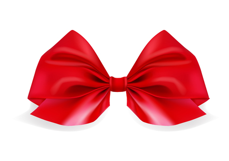 Realistic red bow on white background. Ribbon. Vector illustration