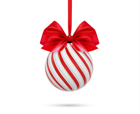 Vector christmas ball in white and red color with red bow and ribbon. Twisted christmas tree ball on white background