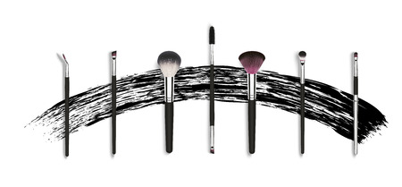Vector make up brushes for mascara and powder. Besign concept with mascara stroke.