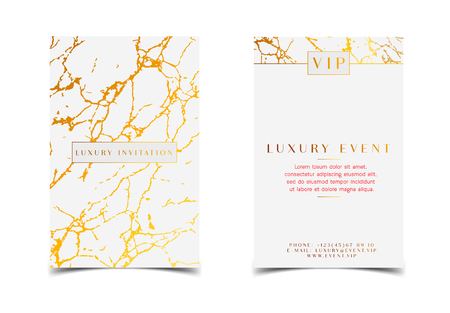White Gold Luxury Invitation for VIP event. Elegant Greeting Card with Royal Marble golden texture. Template Good for Foil stamping.