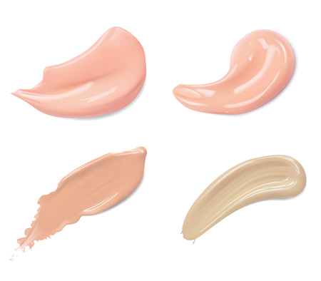 Cosmetic liquid foundation cream smudge smear strokes set. Make up smear isolated on white background