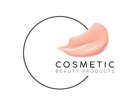 Makeup design template with place for text. Cosmetic Logo concept of liquid foundation and lipstick smear strokes. Vettoriali