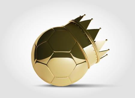 황금 왕관과 함께 골드 축구 또는 축구 공. 사실적인 아름 다운 벡터 공을 3D 스타일입니다.