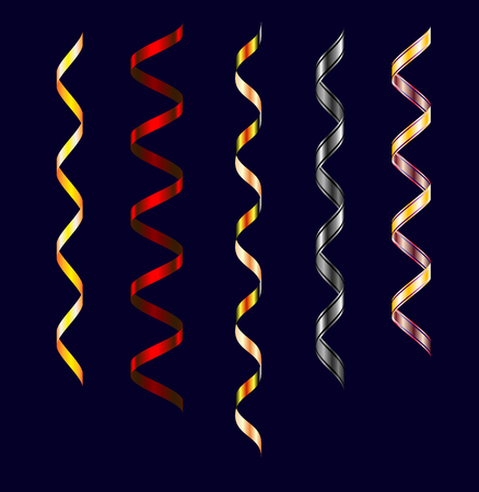Set of colorful streamerson dark background. Carnival party serpentine decoration for your banner and greating card design. Paper ribbons Illustration