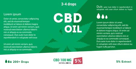 Vector green cannabis oil. CBD Oil. Marijuana leaf label