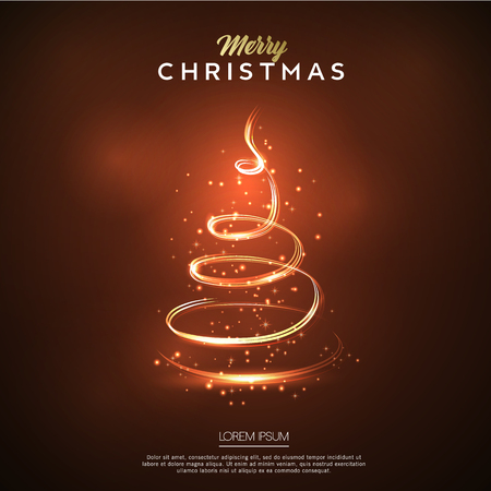 Merry Christmas card glow. Christmas tree design