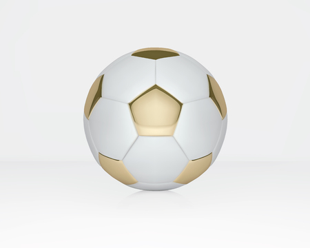 White and Gold soccer ball on white background. Golden football ball