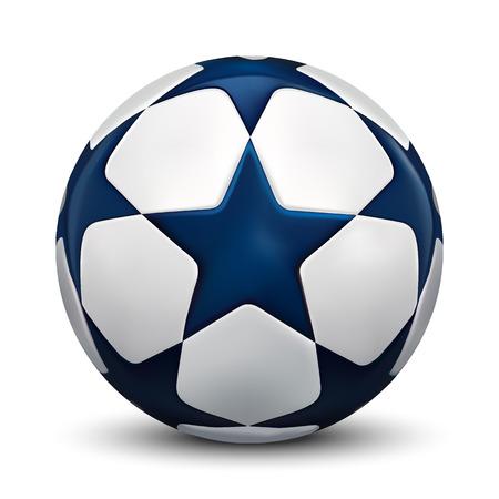 Soccer ball. Football ball with blue stars. Vector.