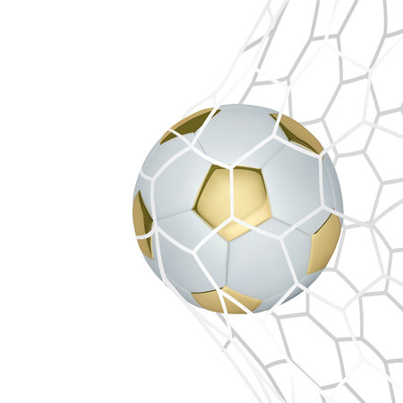 Vector golden realistic soccer ball in the net on white background.