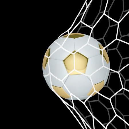 黒の背景にネットでベクトル黄金の現実的なサッカー ボール。  イラスト・ベクター素材