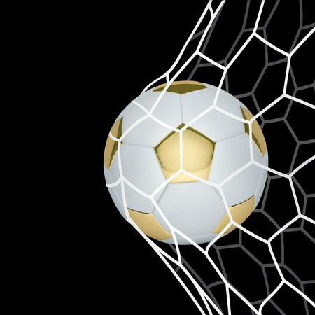 Vector golden realistic soccer ball in the net on black background.