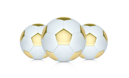 Vector white and gold soccer ball. Realistic soccer ball or football ball Stock Photo
