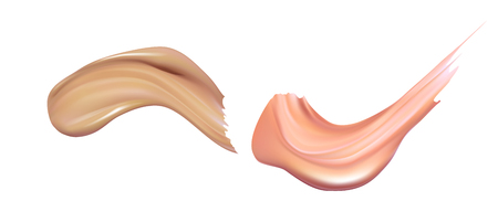 Cosmetic liquid foundation cream smudge smear strokes. Make up smear isolated on white background Stock Photo - 92033928