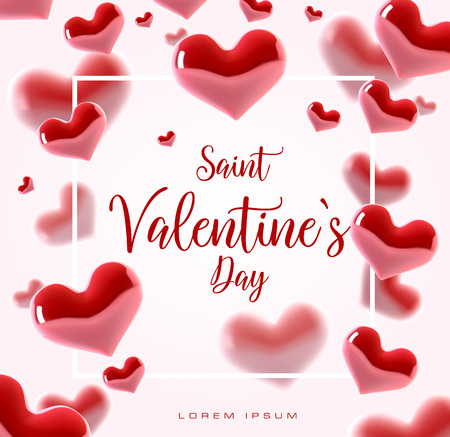 Valentine s day concept. Vector illustration. 3d colorful hearts with thin square frame. Cute love banner or greeting card. Place for your text. Vectores
