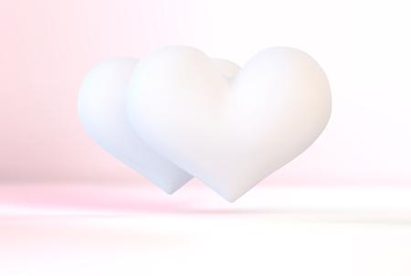 Realistisch wit 3d valentijnskaarthart Stock Illustratie