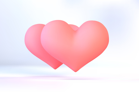 Realistic pink vector valentine heart in 3d style with glare on white background. Vector illustration.