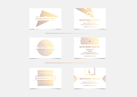 White gold luxury business cards set for vip event elegant greeting vector white gold luxury business cards set for vip event elegant greeting card with golden circle geometric pattern banner or invitation with foil m4hsunfo