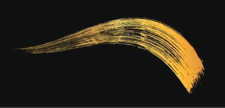 Make-up cosmetic golden mascara brush stroke on white. Vector mascara gold smear. 일러스트