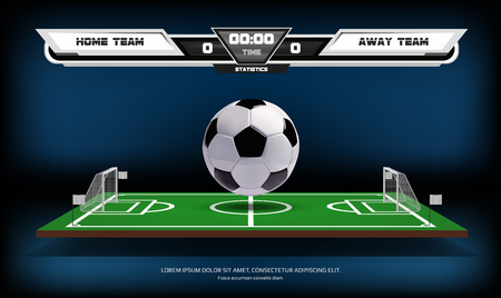 Football or soccer playing field with info-graphic elements and 3d ball. Sport game. Football stadium spotlight and scoreboard background. Vector illustration.