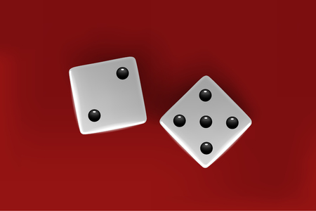 Top view of white dice. Casino dice on red background